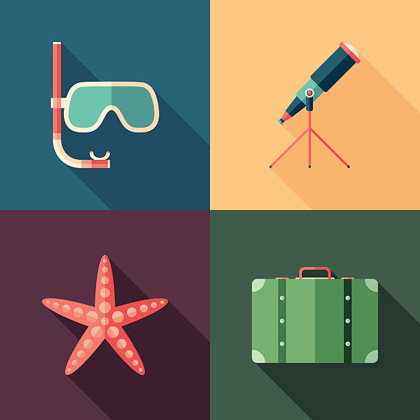 illustrazioni stock, clip art, cartoni animati e icone di tendenza di set di icone di spiaggia quadrato piatto con lunghe ombre. - immerse in the stars