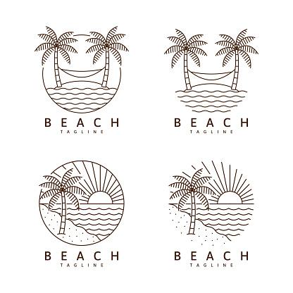 Set of beach illustration monoline or line art style