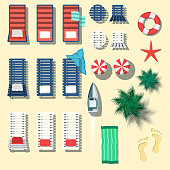 Set of beach objects in flat style