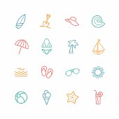 Set of beach related icons