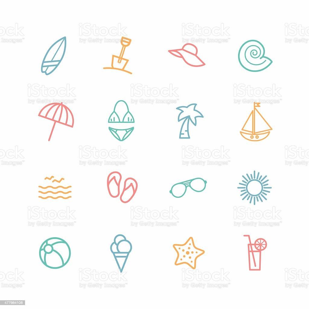 Ensemble d'icônes de plage - Illustration vectorielle