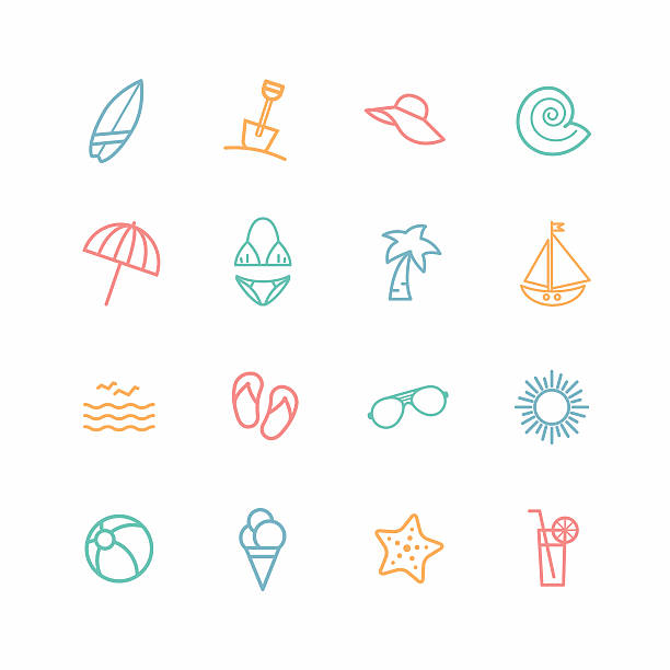 Set of beach related icons vector art illustration