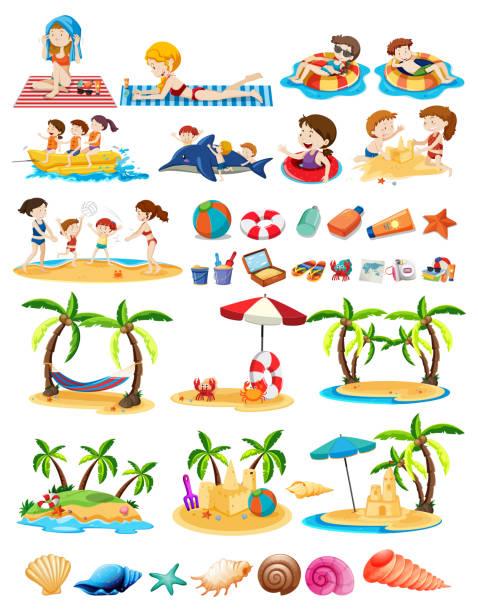 illustrations, cliparts, dessins animés et icônes de ensemble de thème de plage - chateau de sable