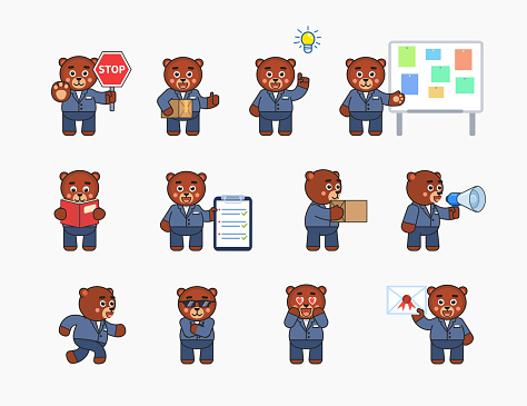 Set of bear characters in business suit in various situations