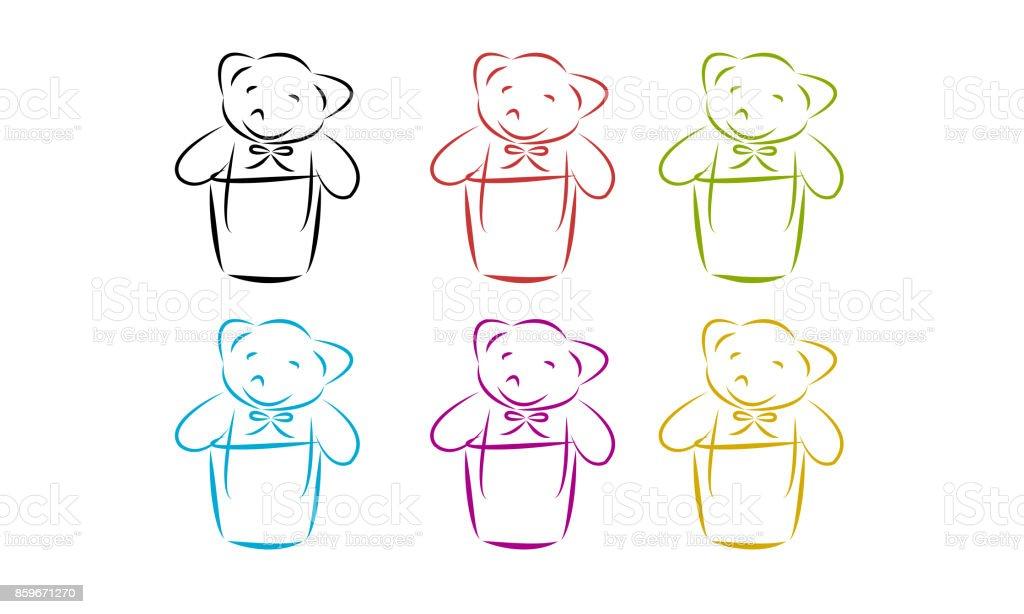 Set of bear doll. vector art illustration