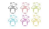 Set of bear doll.