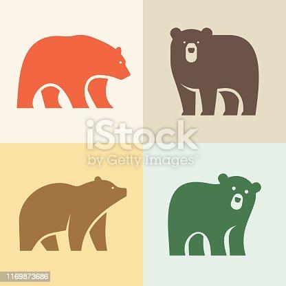 Set of Bear logo. Icon design. Template elements