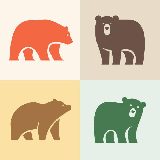 ilustrações de stock, clip art, desenhos animados e ícones de set of bear logo - urso