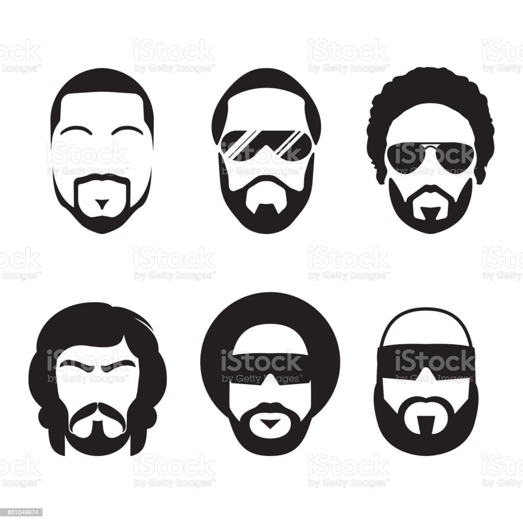 Set of bearded hipster men faces. vector art illustration