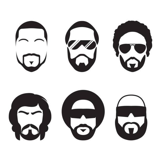 Set of bearded hipster men faces. vector art illustration