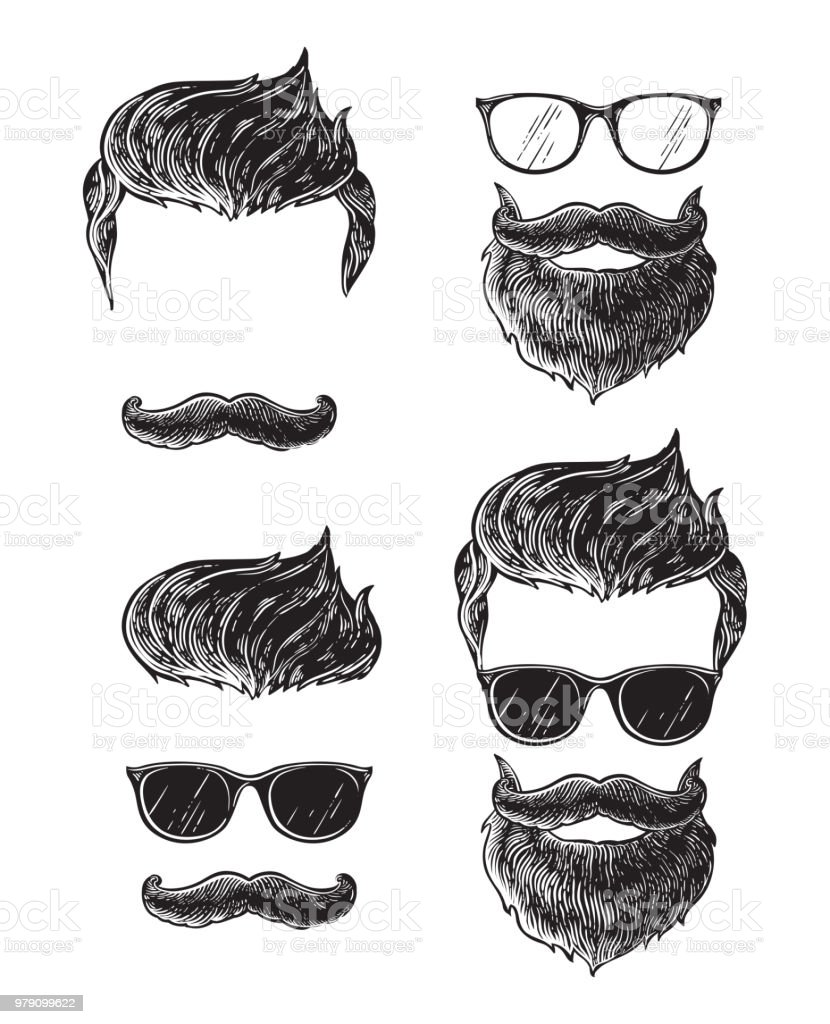 Set of bearded men faces, hipsters with different haircuts mustaches beards. Silhouettes emblems icons labels. vector art illustration