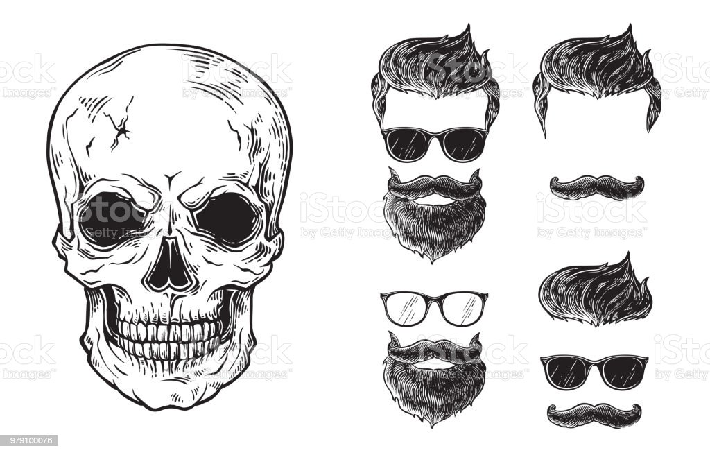 Set of bearded men faces, hipsters with different haircuts mustaches beards skull. Silhouettes emblems icons labels. vector art illustration