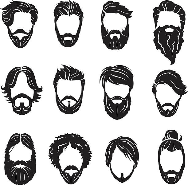 set of beards and hairs - hairstyle stock illustrations, clip art, cartoons, & icons