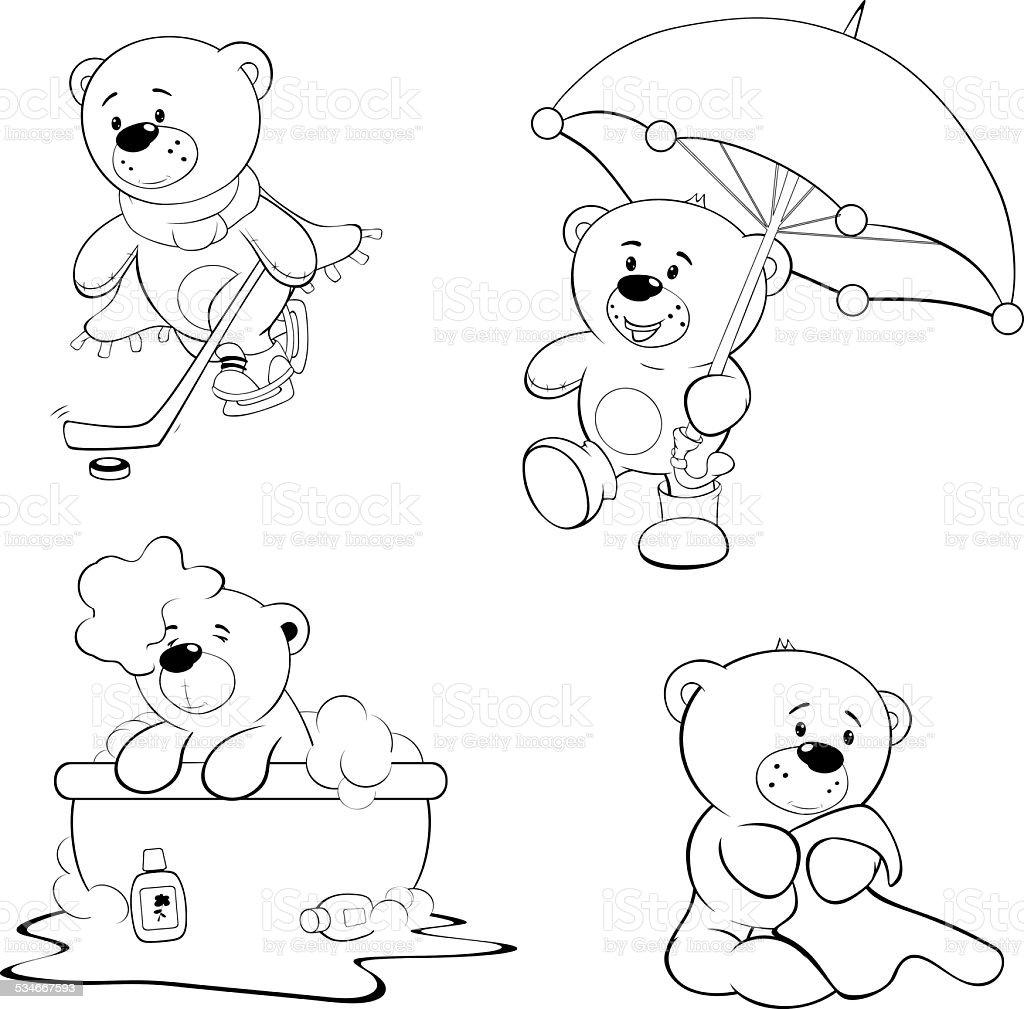 Set di orsetti libro da colorare immagini vettoriali - Orsacchiotto da colorare in ...