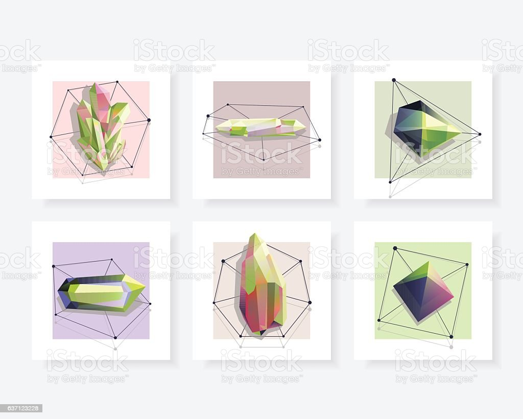 Set of beautiful abstract geometric shaped crystal gems vector art illustration