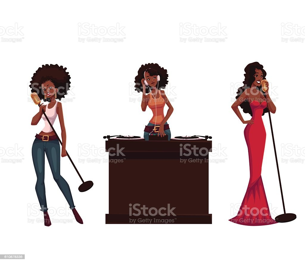 Set of beautiful African women singers and dj vector art illustration