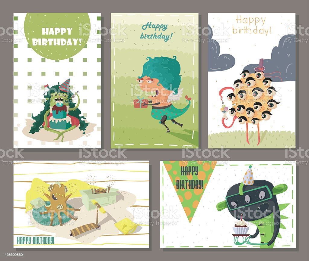 Set of beautiful birthday cards decorated with cartoon monsters set of beautiful birthday cards decorated with cartoon monsters royalty free stock vector art kristyandbryce Image collections