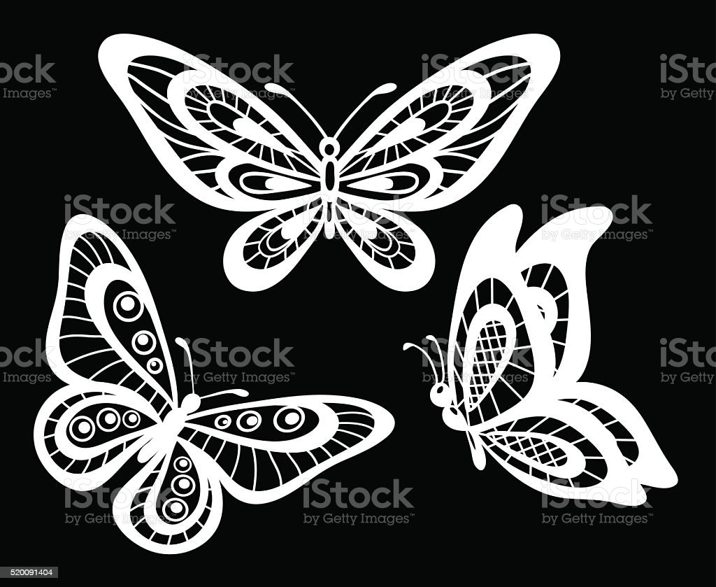 Set Of Beautiful Black And White Guipure Lace Butterflies Isolated