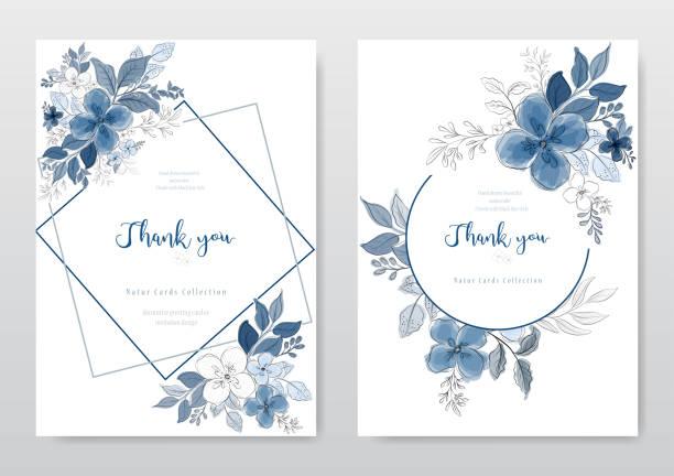 ilustrações de stock, clip art, desenhos animados e ícones de set of beautiful blue watercolor floral card - flower white background