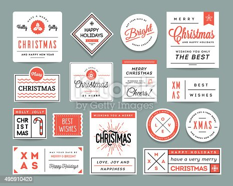 istock Set of beautiful Christmas themed labels and greeting cards 495910420