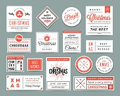 Set of beautiful Christmas themed labels and greeting cards, vector illustration