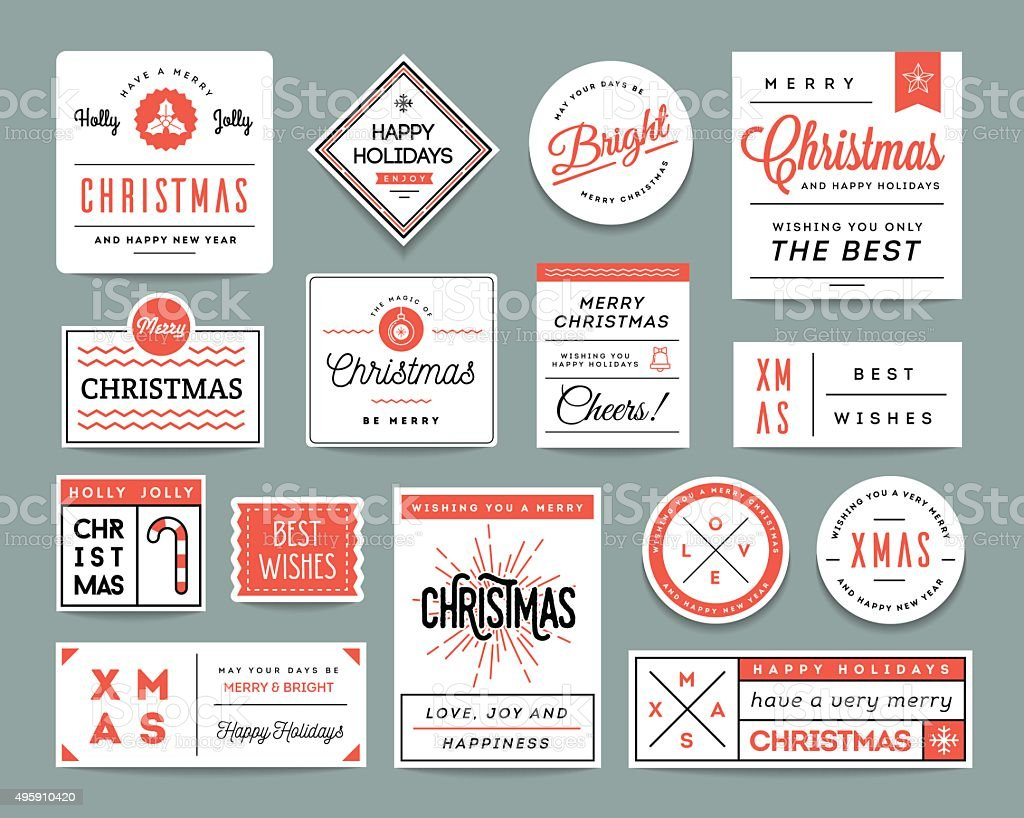 Set of beautiful Christmas themed labels and greeting cards vector art illustration