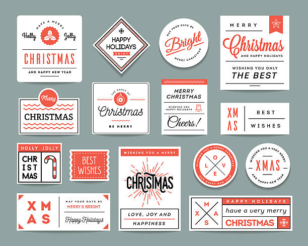 stockillustraties, clipart, cartoons en iconen met set of beautiful christmas themed labels and greeting cards - cheering