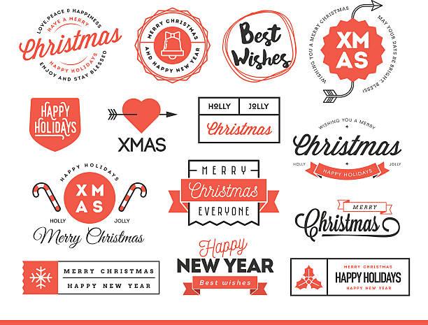 zbiór pięknych świąt tematyczne etykietki, odznaki i logo - pieczęć znaczek stock illustrations