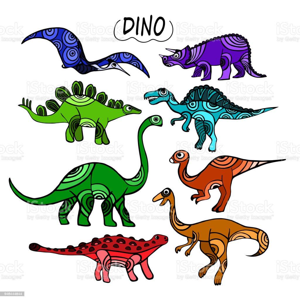 Ilustración de Juego De Dinosaurios Color Hermoso Dibujado Con ...