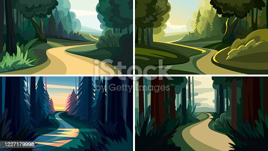 Set of beautiful forest landscapes. Natural sceneries in cartoon style.