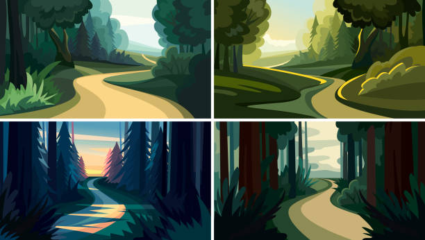 Set of beautiful forest landscapes. Set of beautiful forest landscapes. Natural sceneries in cartoon style. forest stock illustrations