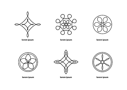 Set of beautiful geometric abstract elements