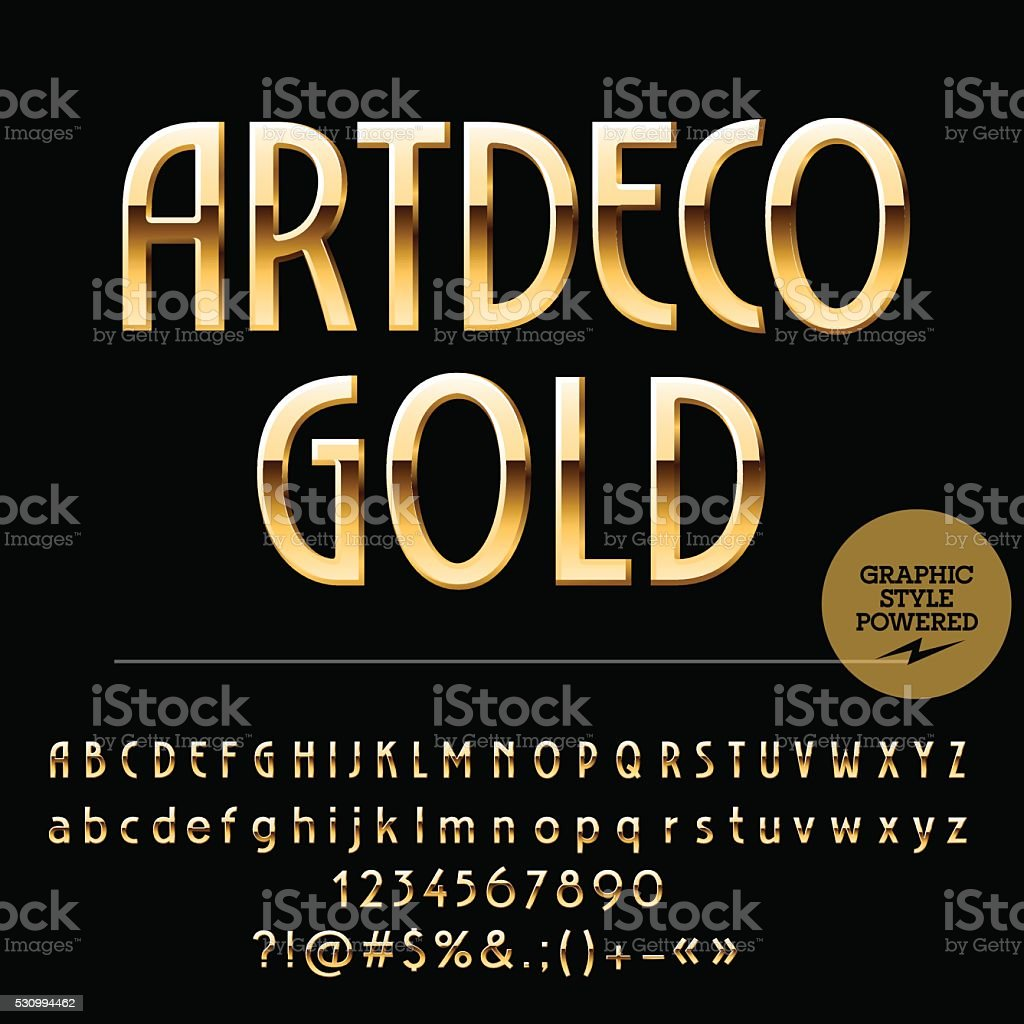 Set of beautiful gold alphabet letters, numbers and punctuation symbols vector art illustration