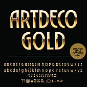 Set of beautiful gold alphabet letters, numbers and punctuation symbols