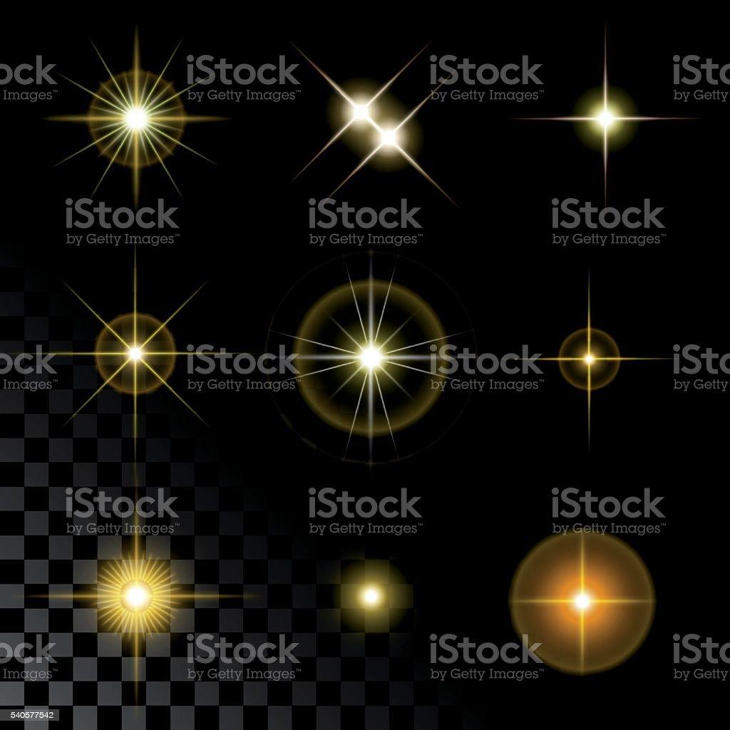 Набор Красивые золотые звезды векторная иллюстрация
