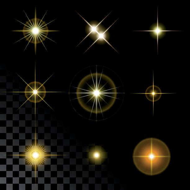 Bекторная иллюстрация Набор Красивые золотые звезды