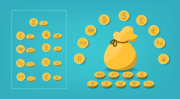 stockillustraties, clipart, cartoons en iconen met reeks mooie gouden munt met muntpictogram met idee van de geldzak voor zaken en financieel gebruik; koreaans won, maleisische ringgit, pond, euro, dollar, rand, thaise baht, roepia, yuan, yen. - thaise munt