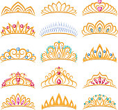 Set of beautiful golden tiaras with gemstones. Princess crowns. Jewelry collection.