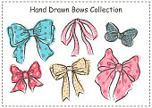 Set of beautiful graphic bows. Hand drawn bows collection.