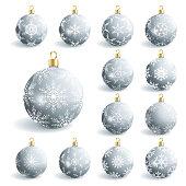 Set of beautiful grey glass Christmas balls, isolated on white background. Festive decoration, element of design. Vector illustration