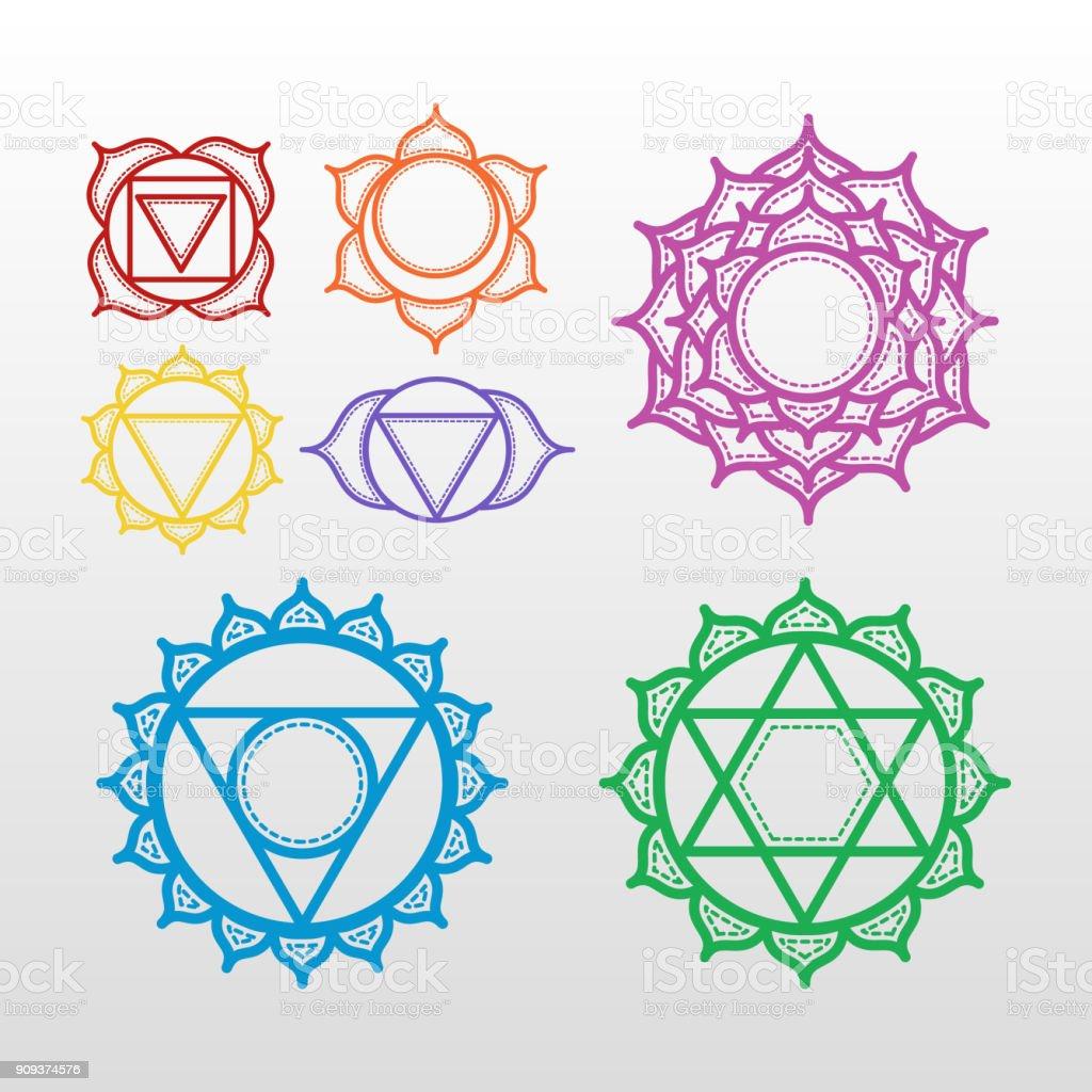 Set of beautiful indian ornamental 7 chakra vector art illustration