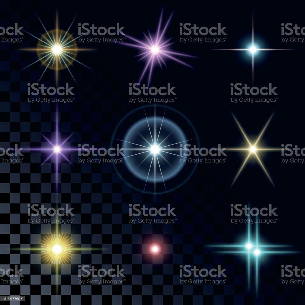 Набор красивых Разноцветные звезды векторная иллюстрация