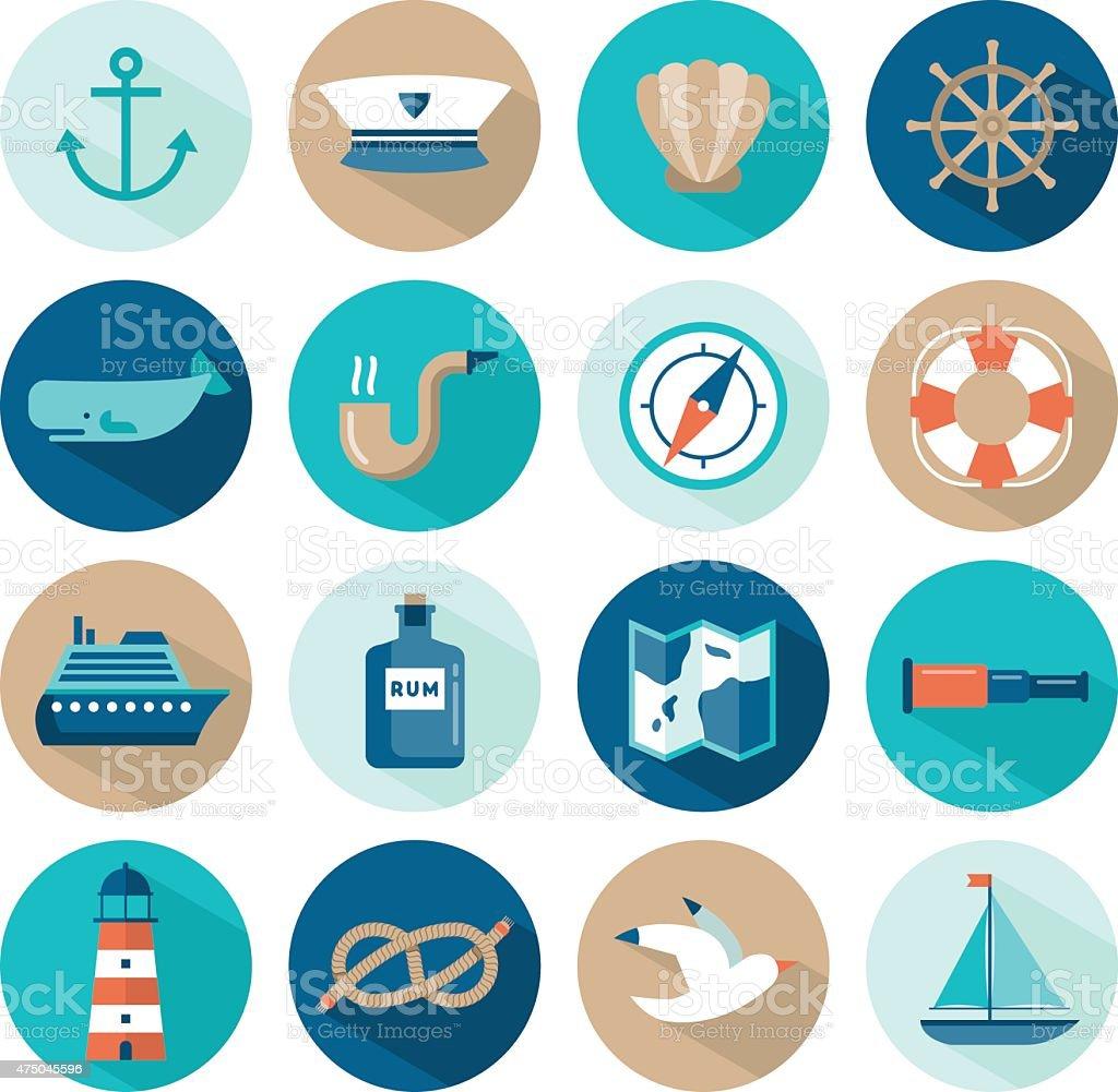 set of beautiful nautical flat icons vector art illustration
