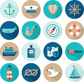 set of beautiful nautical flat icons