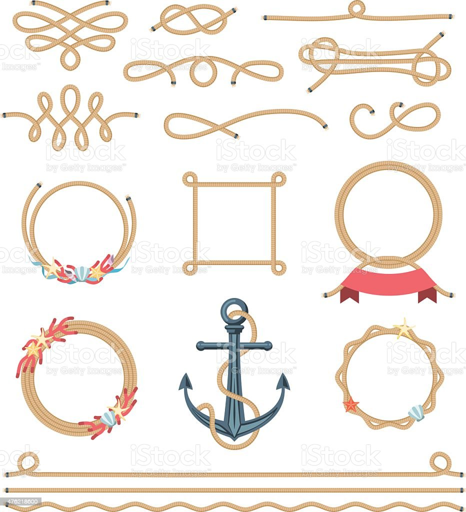 Set of beautiful nautical rope elements stock vector art for Where to buy nautical rope for crafts