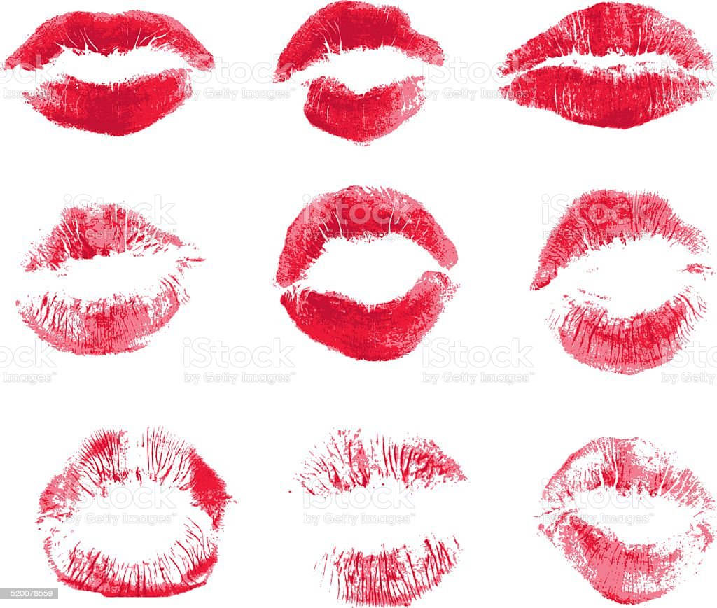 Set of beautiful red lips print on isolated white background vector art illustration