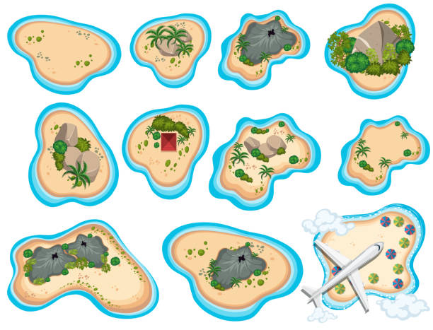 bildbanksillustrationer, clip art samt tecknat material och ikoner med en uppsättning vackra tropical island - ö