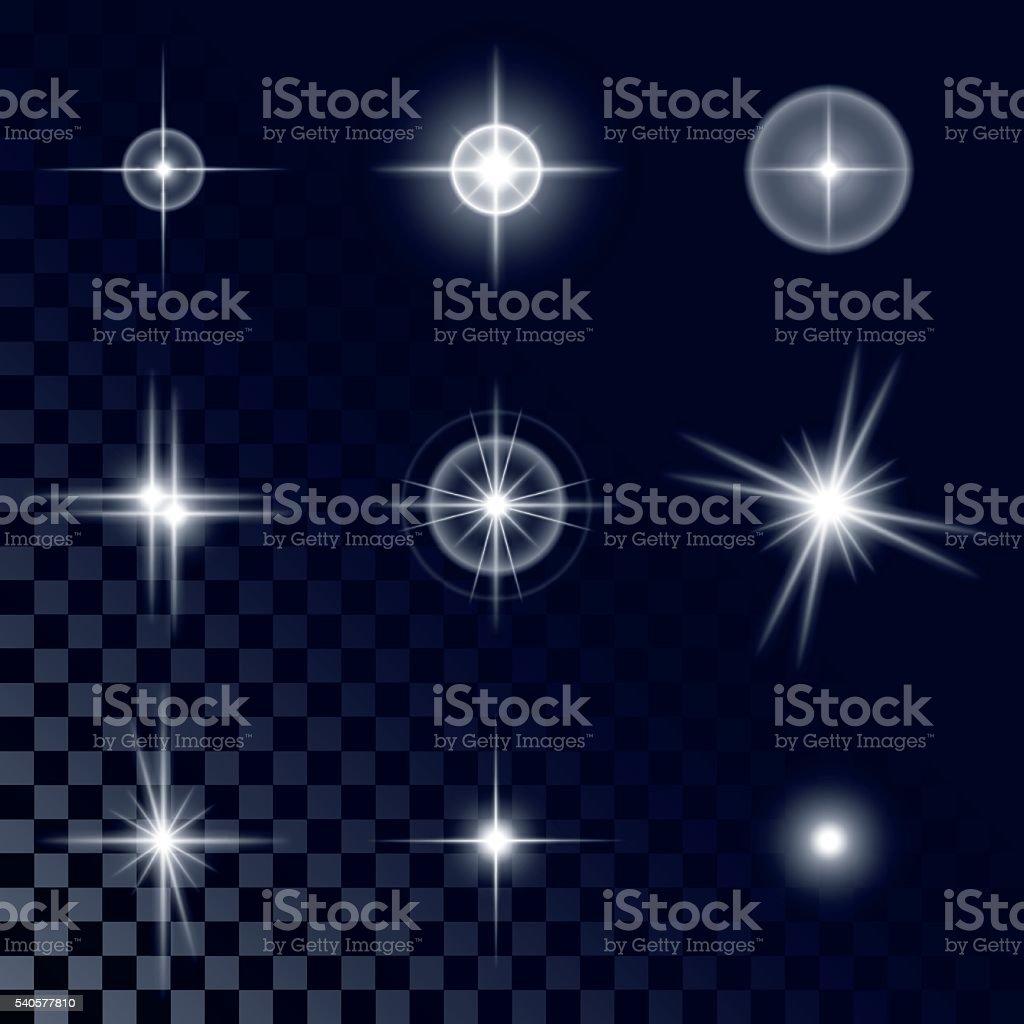 Набор красивых белые звезды векторная иллюстрация