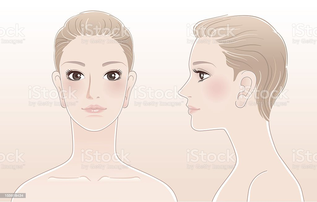 Set of Beautiful woman portrait, front and side view vector art illustration