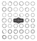 Set of wreath isolated on white background. Vector template with flourishes ornament elements.